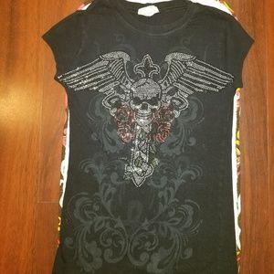 Tops - Skull Cross Rose's Bling Shirt